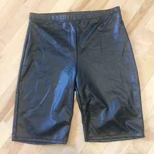 Faux leather bike style shorts high rise NWT